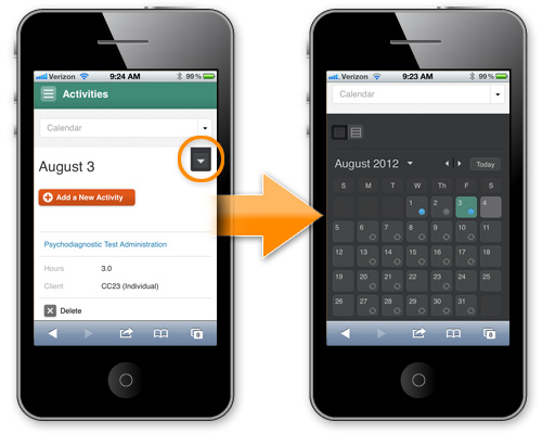 Time2Track Mobile: Toggle Calendar